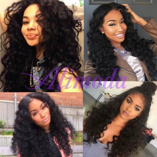 peruvian virgin human hair loose deep wave 3 bundles with frontal closure deals