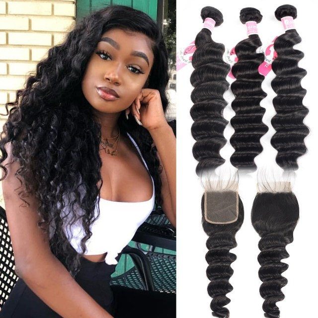 ali pearl hair 3 bundles brazilian loose deep wave with 4x4 lace closure