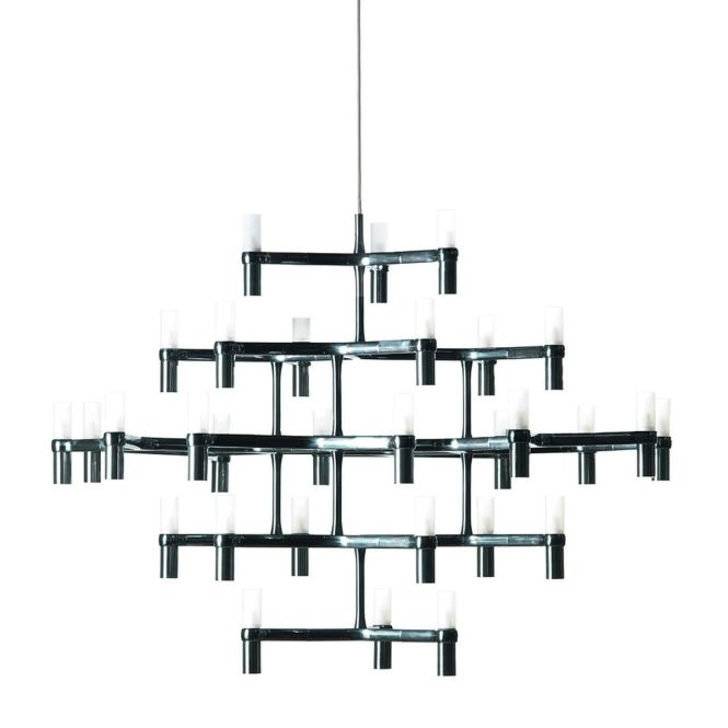 Nemo Crown Major Chandelier Black Lacquered 30 Lamps Ø115cm