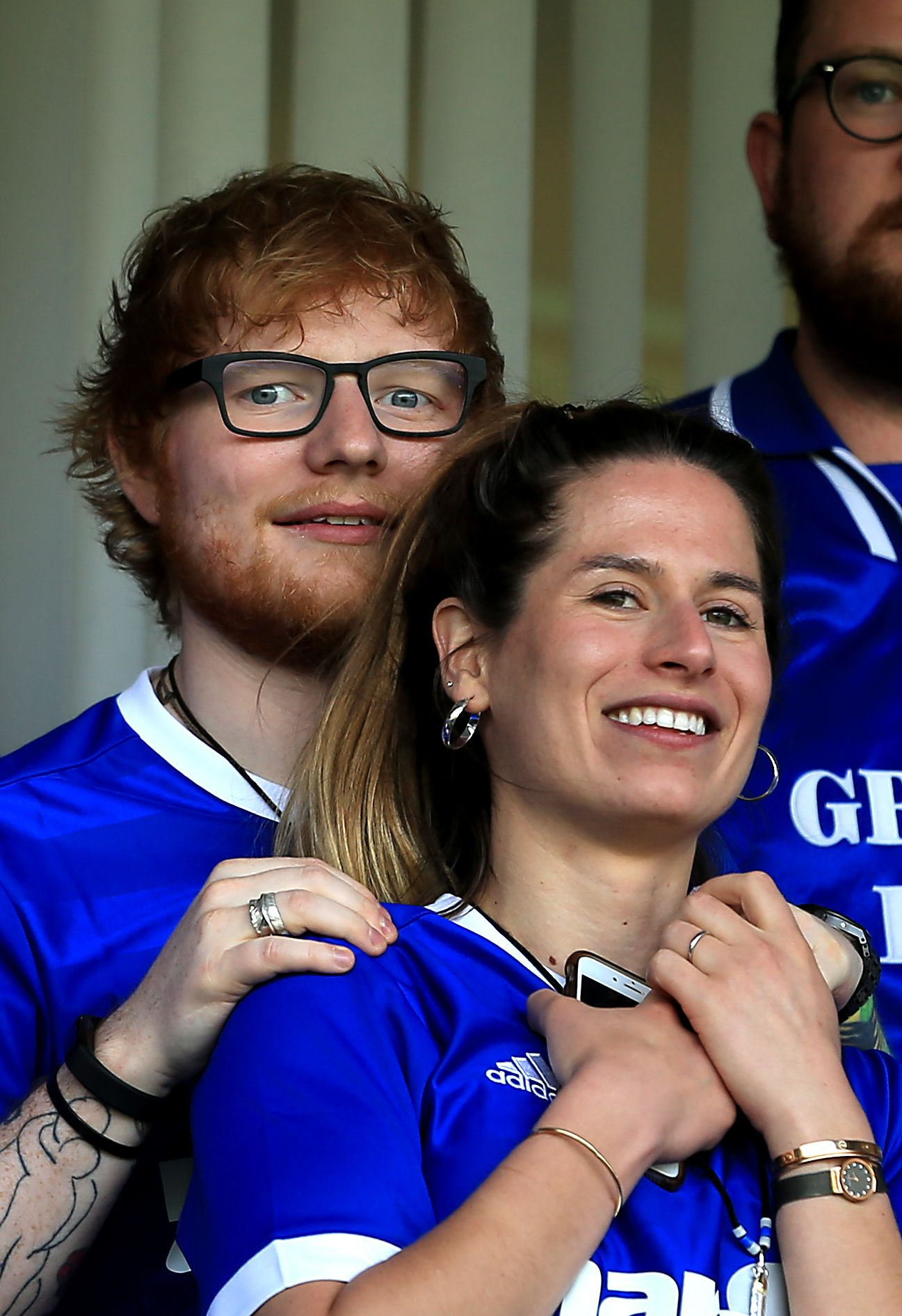 Musician Ed Sheeran and fiancee Cherry Seaborn watch the Sky Bet Championship match between Ipswich Town and Aston Villa at Portman Road on April 21, 2018 |  Photo: Getty Images