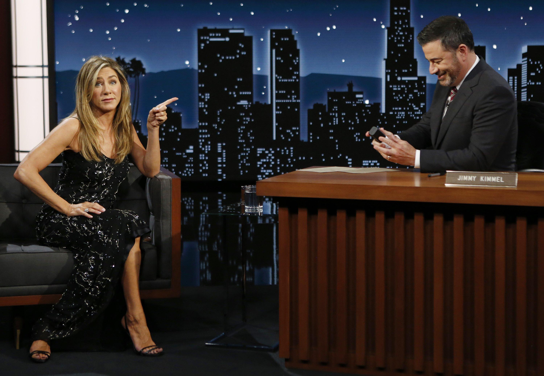 "Jennifer Aniston with Jimmy Kimmel on ""Jimmy Kimmel Live!""    Photo: Randy Holmes / ABC via Getty Images"