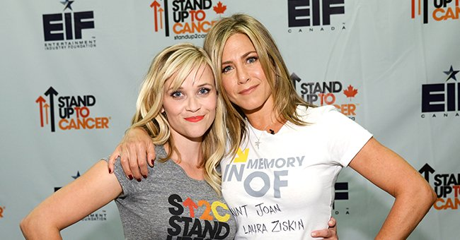 Reese Witherspoon and Jennifer Aniston at Stand Up To Cancer (SU2C) at the Dolby Theater in Hollywood, California    Photo: Kevin Mazur / American Broadcasting Companies Inc via WireImage via Getty Images
