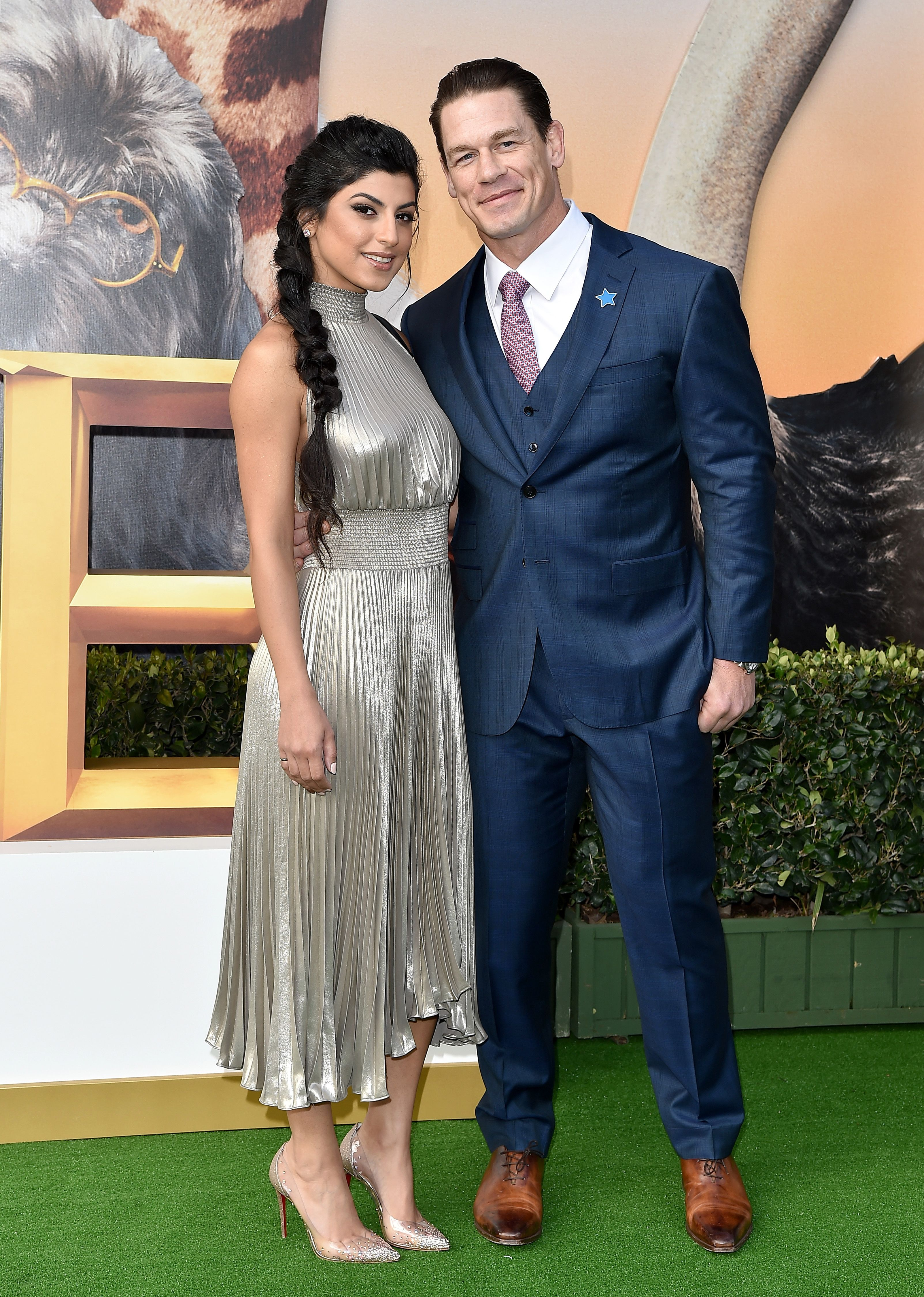 """Shay Shariatzadeh and John Cena at the premiere of Universal Pictures' """"Dolittle"""" at the Regency Village Theater on January 11, 2020 