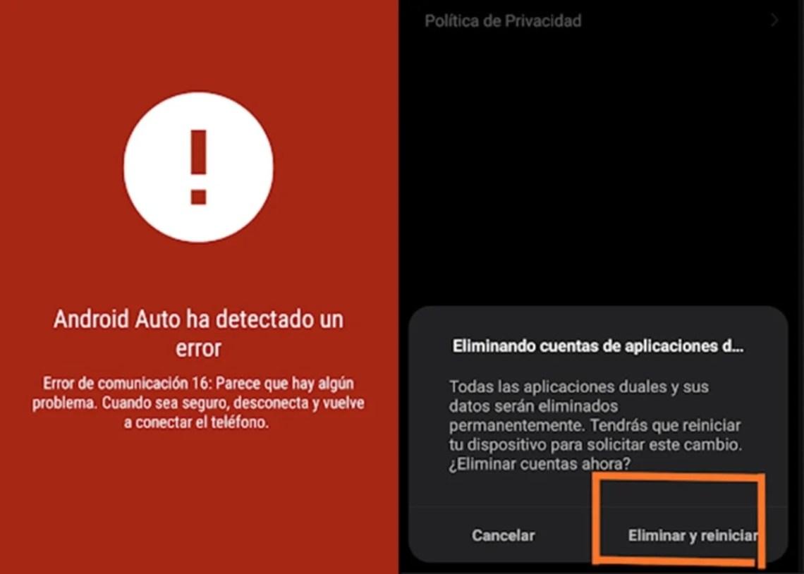 Android Auto ha detectado un error 16