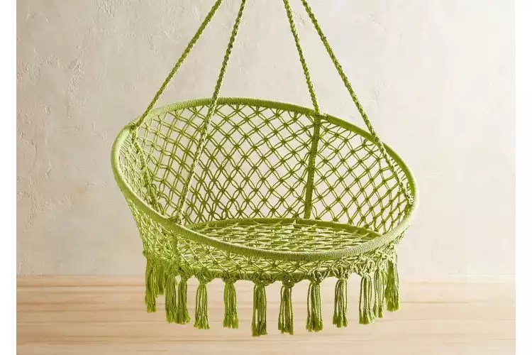 The Best Hanging Chairs   Apartment Therapy Pier1      Macrame Hanging Saucer Chair