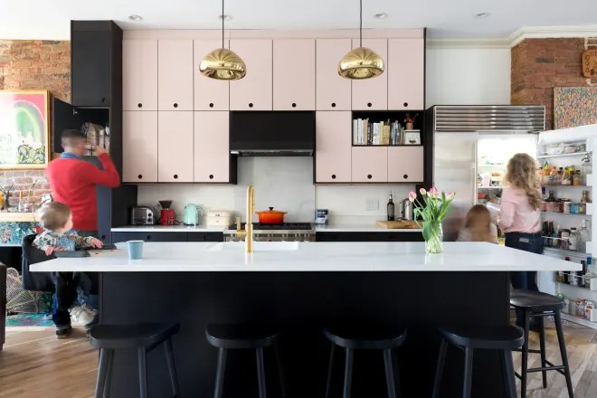 A Brooklyn Home's Blush and Black Kitchen Isn't Even Its Boldest Element