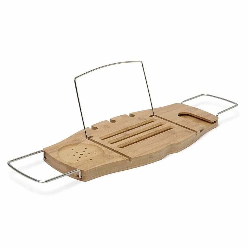 6. Umbra Aquala Bamboo Extendable Bathtub Tray Caddy