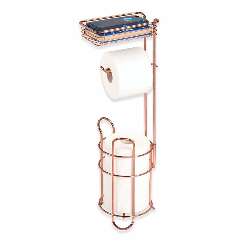 4. mDesign Freestanding Metal Wire Toilet Paper Roll Holder Stand