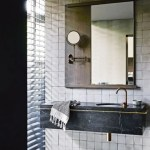 Black Marble In The Bathroom Tile Baths Fixtures Floors Apartment Therapy