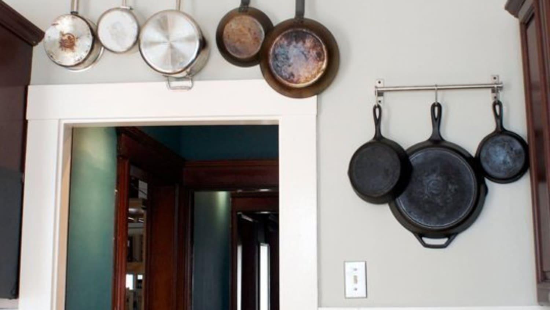 10 smart places to put a pot rack kitchn