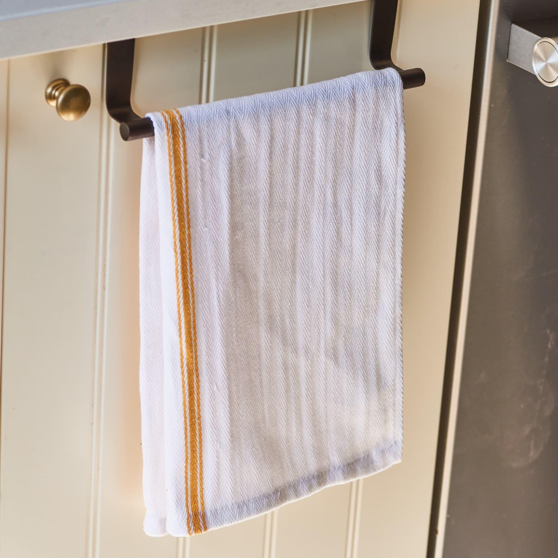 kitchen sink towel bar organizing hack