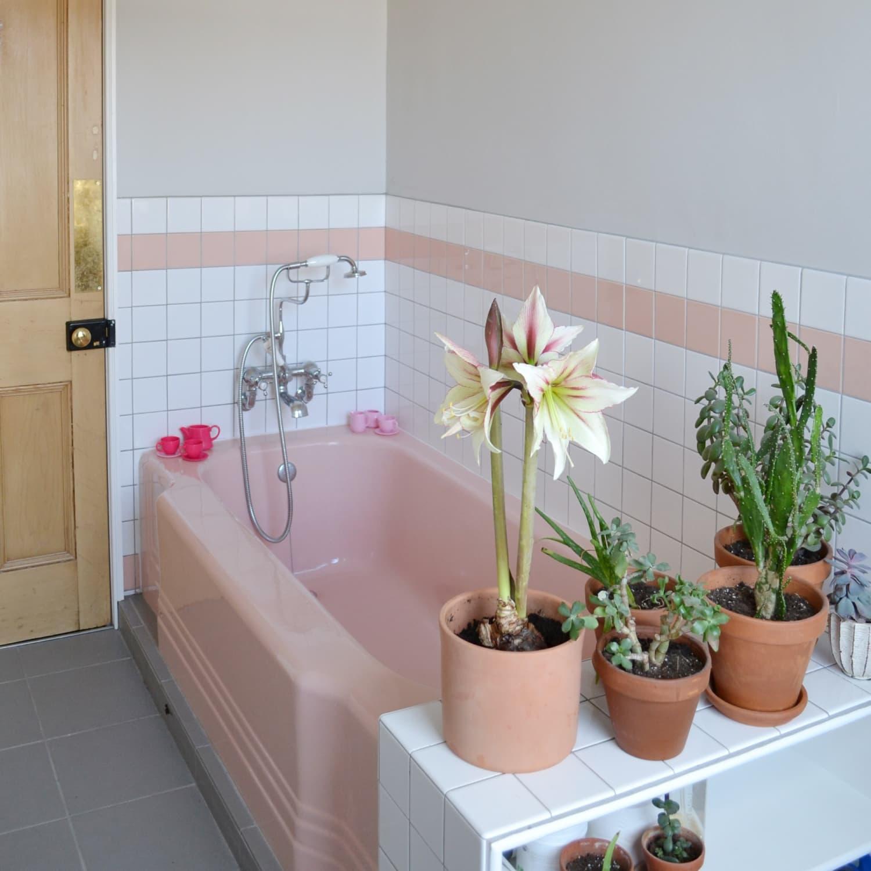 pink vintage bathroom tile