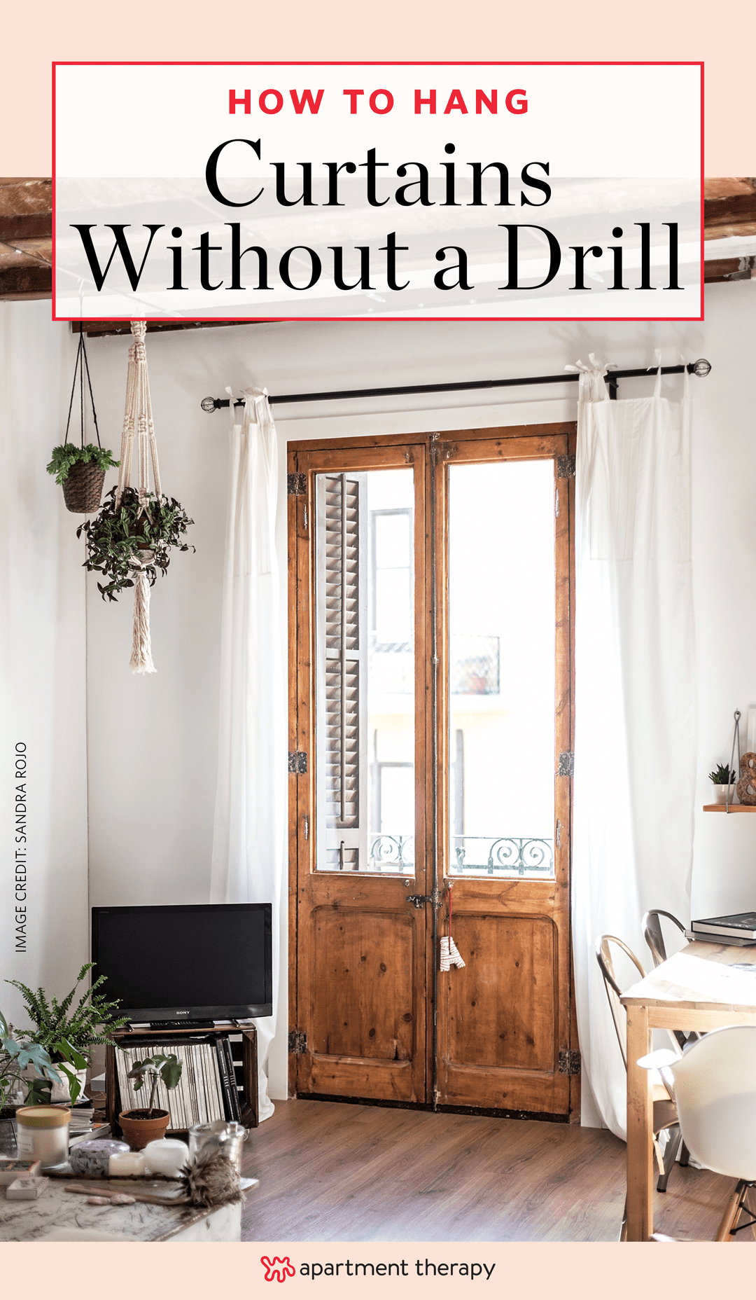 how to hang curtains without drilling