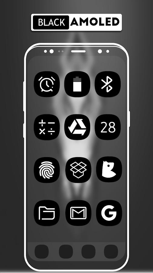 S Dark Black Amoled Ux Icon Pack