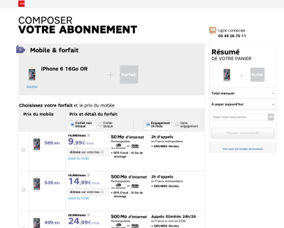 iPhone 6 SFR TARIFS OPERATEUR