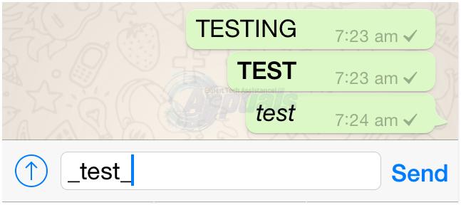 kursiv WhatsApp