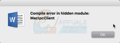 Kompilierungsfehler in verstecktem Modul-Wort-Mac