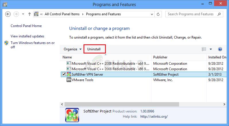 Deinstallation eines VPN-Tools