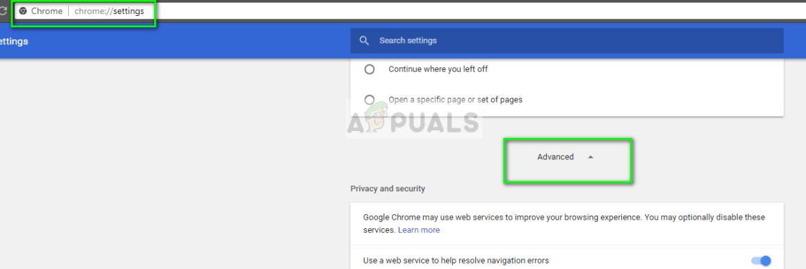 Erweiterte Einstellungen im Chrome-Browser
