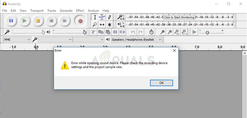 Audacity-Fehler beim Öffnen des Audiogeräts
