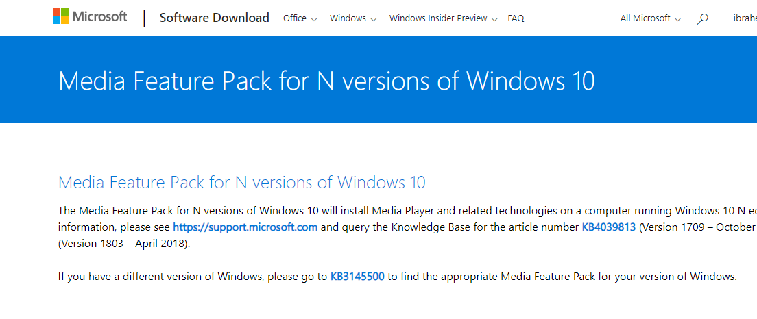 Media Feature Pack für Windows N.