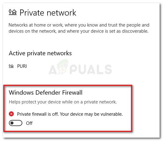 Deaktivieren Sie die Windows Defender-Firewall für Ihr privates Netzwerk