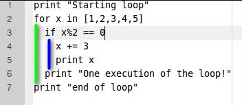 Einrückungsbeispiel in Python