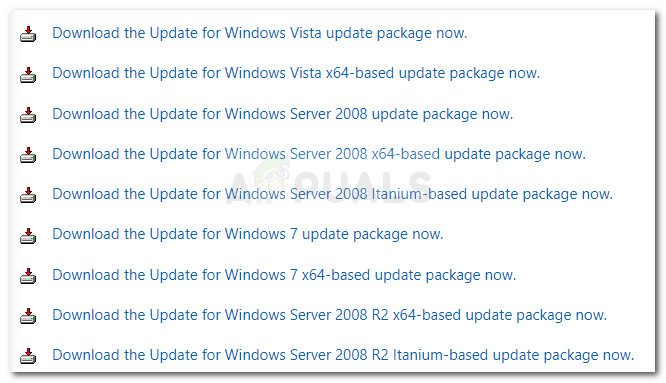 Descarga de la actualización de Windows de análisis