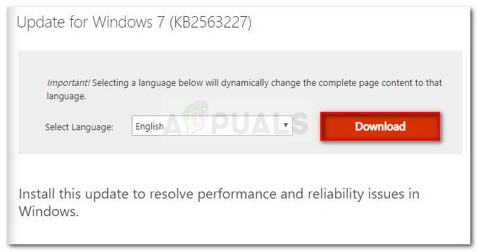 Descarga de la actualización KB2563227