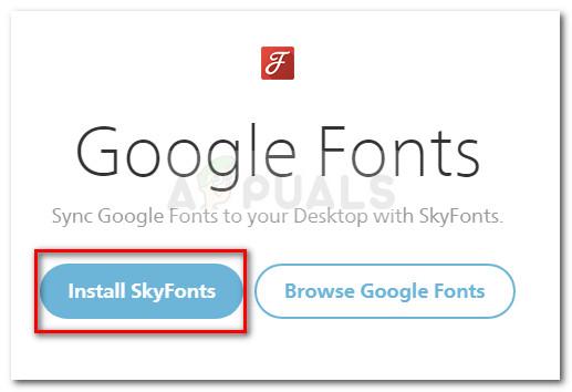 Herunterladen des Skyfonts-Installationsarchivs