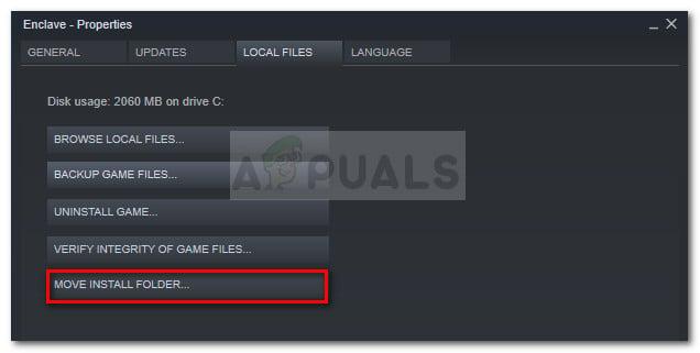 Gehen Sie zu Lokale Dateien und klicken Sie auf Installationsordner verschieben