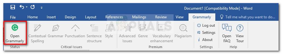 Öffnen Sie Grammatik in Microsoft Word