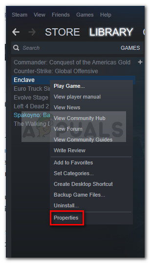 Klicken Sie mit der rechten Maustaste auf das abstürzende Spiel und wählen Sie Eigenschaften