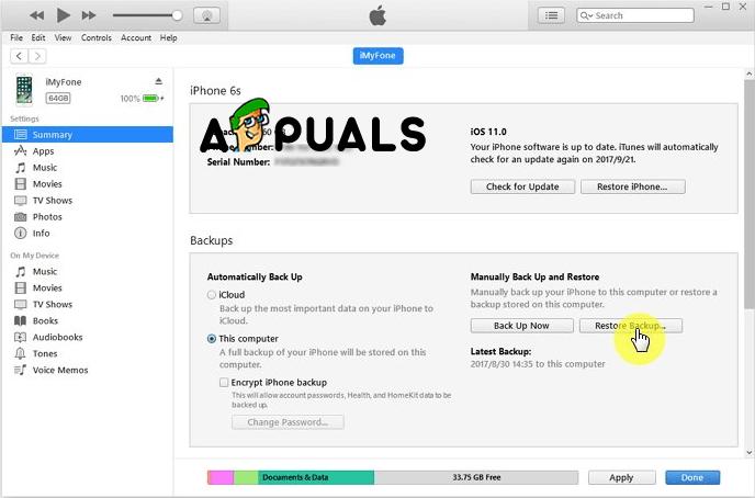 Restaurar desde la copia de seguridad de iTunes