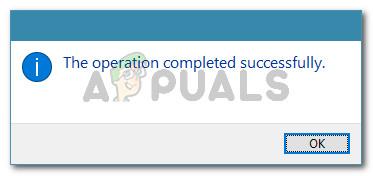 La operación se completa con éxito