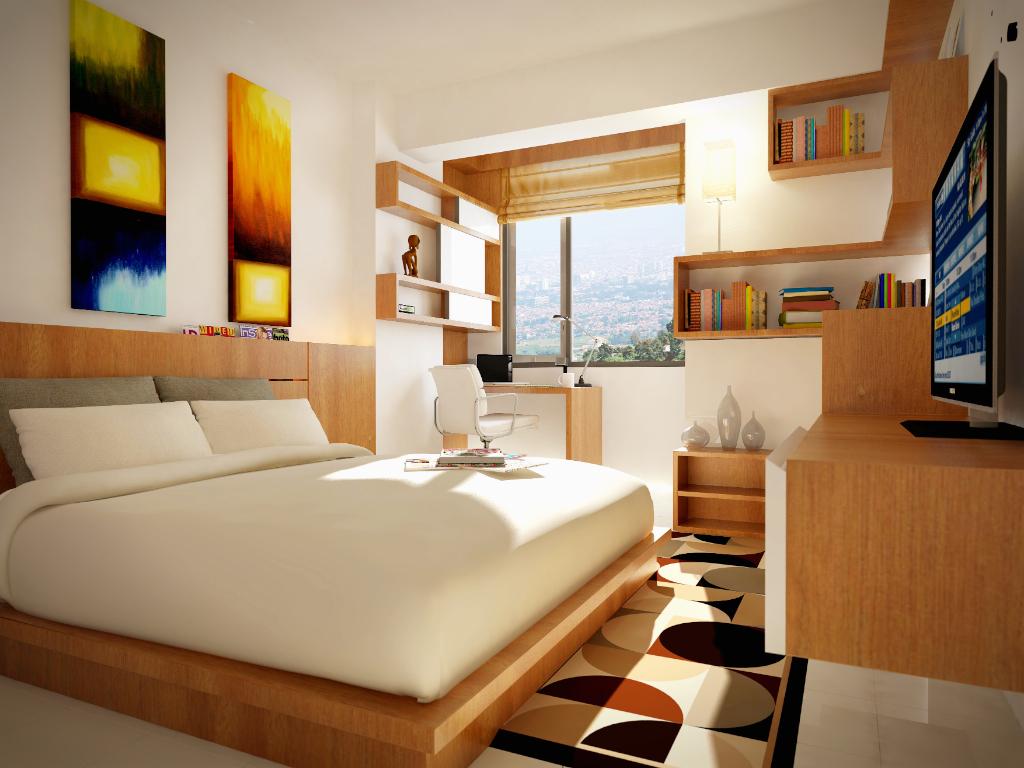 Interior 3D Rendering Of A Studio Apartment In Bandung