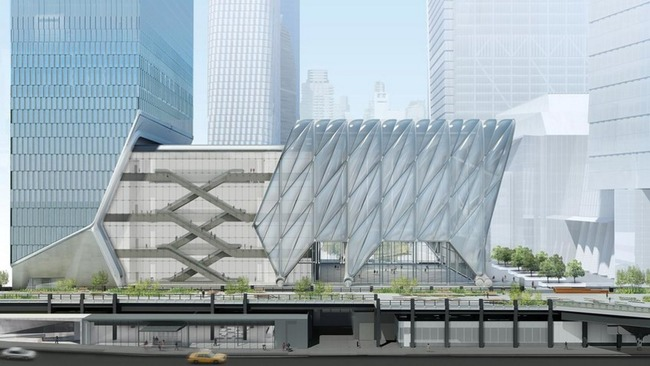 """Rendering of """"The Shed"""" arts center, designed by Diller Scofidio + Renfro and the Rockwell Group. Image credit: Rockwell Group, via globalconstructionreview.com."""