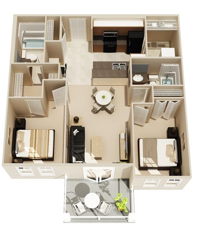 50 Two 2 Bedroom Apartment House Plans Eshwar Chaitanya