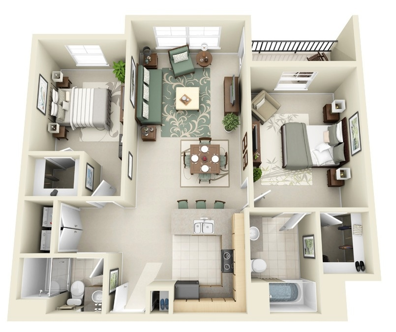 2 Bedroom House Design Bedroom Apartment House Plans