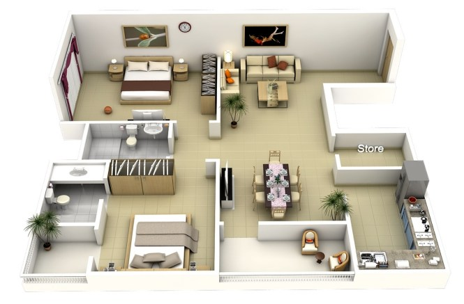 40 Large 2 Bedroom Apartment Plan