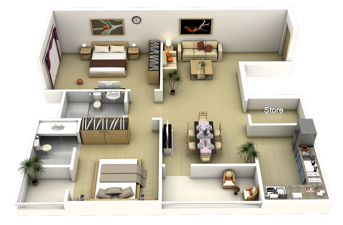 "50 two ""2"" bedroom apartment/house plans 