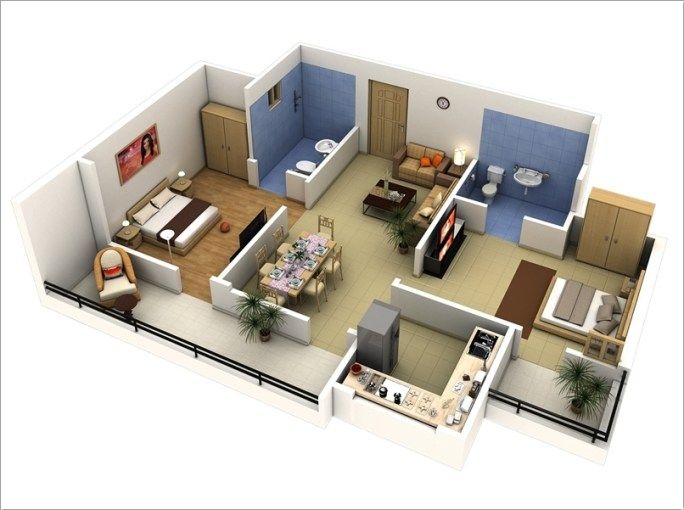10 Awesome Two Bedroom Apartment 3D Floor Plans   Architecture   Design 5