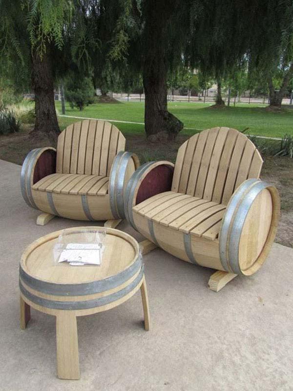 reusing old wine barrels