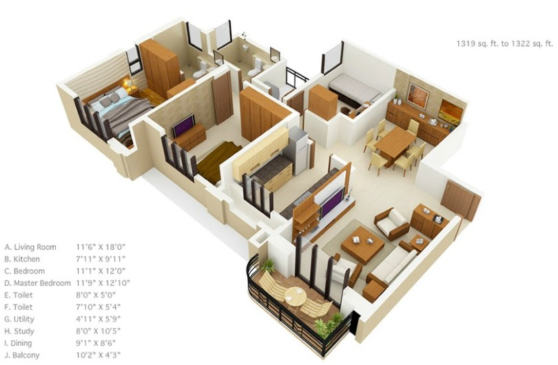 50 Three    3    Bedroom Apartment House Plans   Architecture   Design 50 house plans under 1500 square feet