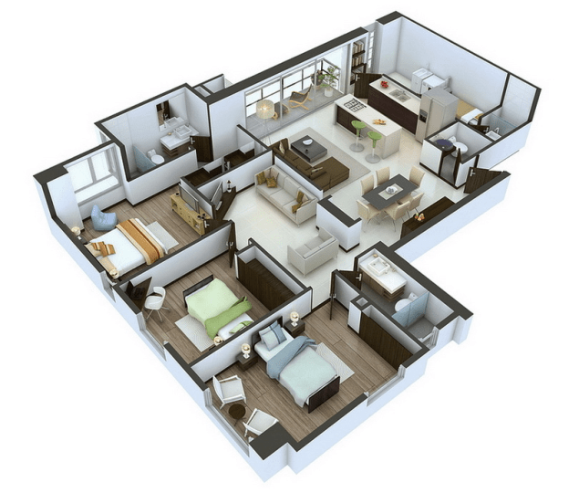 25 More 3 Bedroom 3D Floor Plans   Architecture   Design 15 3bedroom