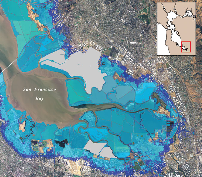 On the Level   Archpaper com Sea level vulnerability map for the Bay area
