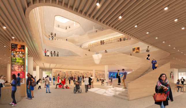 Rendering of the inside of the new Charlotte Library, featuring timber slats