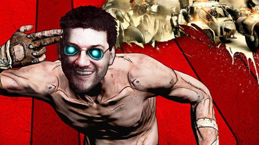 Gearbox CEO Randy Pitchford, recreated in a photo illustration of the game <em>Borderlands</em>'s cover art.