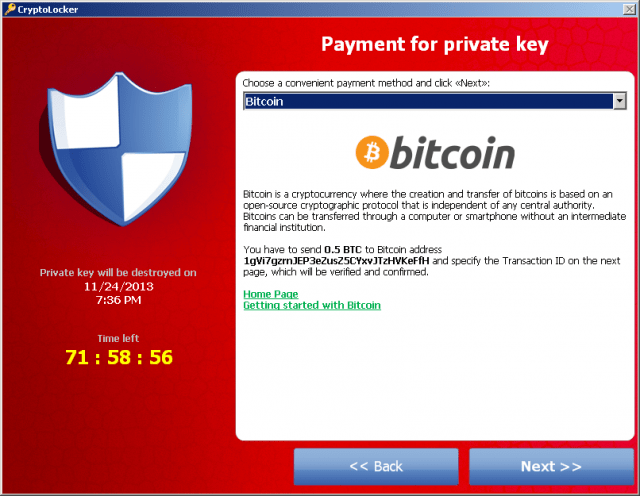 Ransomware requesting bitcoins to provide private key