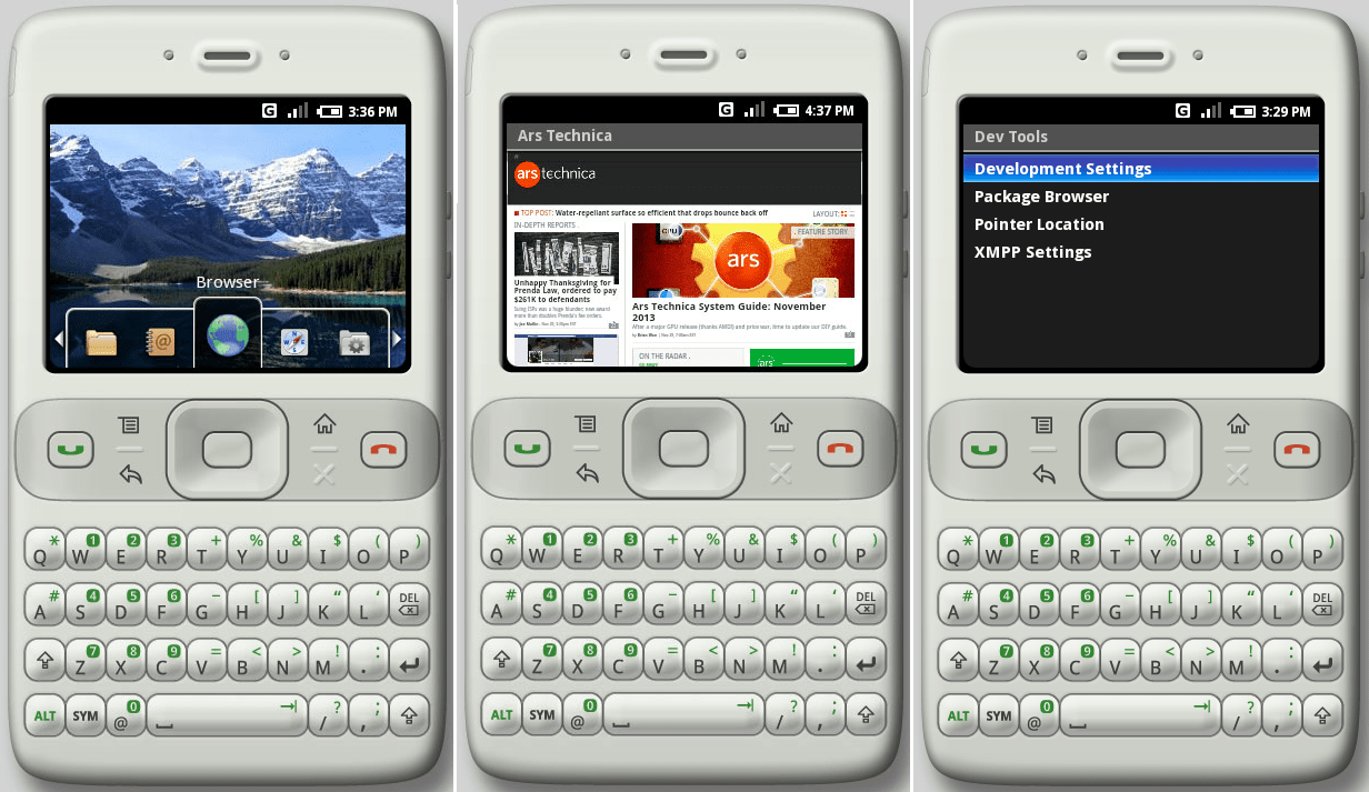 The emulator's default qwerty-bar layout running the Milestone 3 build.